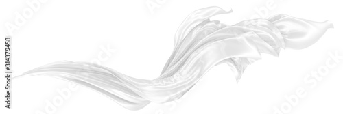 Obraz Abstract background of white wavy silk or satin. 3d rendering image. - fototapety do salonu