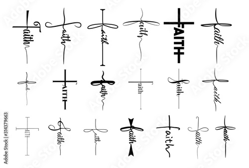 Faith cross vector set collection graphic clipart design Canvas Print