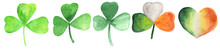 Watercolor Set Of Green Leaves Of Clover, Hearts Coloring Irish Flag. Raster Illustration For Prints, Clipart. St. Patrick's Day Symbols.