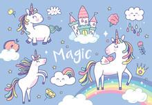 Set Of Cute Unicorns And Magic...