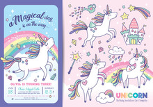 Birthday Party Invitation Card Template With Cute Little Unicorns, Rainbow And Magical Elements