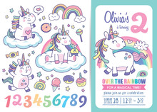 Kids Birthday Party Invitation Card Template With Cute Little Unicorns, Rainbows, Magical Elements And Birthday Anniversary Numbers