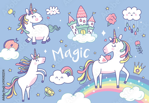 Fotomural Set of cute unicorns and magical elements