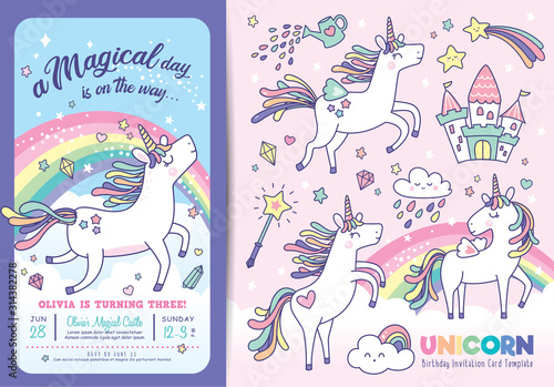 Obraz Birthday party invitation card template with cute little unicorns, rainbow and magical elements  - fototapety do salonu