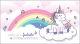 Vector illustration of a cute little unicorn blowing candle with rainbow background. Birthday greeting card design.