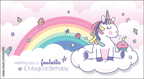Obraz Vector illustration of a cute little unicorn blowing candle with rainbow background. Birthday greeting card design. - fototapety do salonu