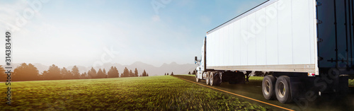 panoramic - truck driving through the mountains Canvas Print