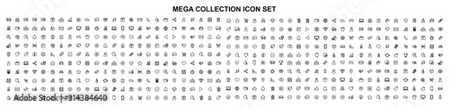 Mega set of icons in trendy line style Fotobehang