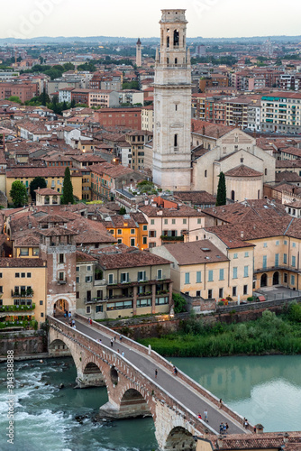 Beautiful aerial view of Verona, Italy
