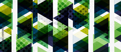 Obraz Banner with multicolored mosaic triangle geometric design on white background. Abstract texture. Vector illustration design template. - fototapety do salonu