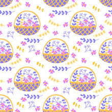Vector Seamless Pattern With Doodles Of Flowers And Plants In Wicker Baskets. Flat Drawing Style. Purple, Yellow, Blue Colors