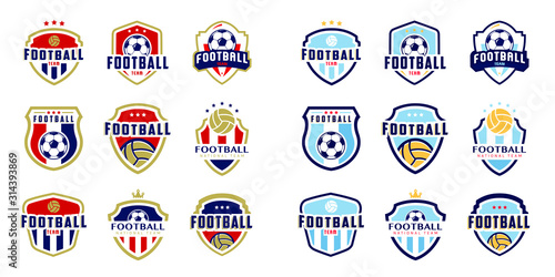 Set of soccer Logo or football club sign Badge Tableau sur Toile