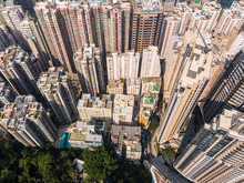 Aerial View Of The Very Crowded North Point Residential District In Hong Kong Island