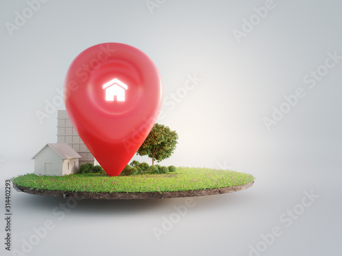 Fototapeta House symbol with location pin icon on earth and green grass in real estate sale or property investment concept. Buying land for new home. 3d illustration of big advertising sign. obraz