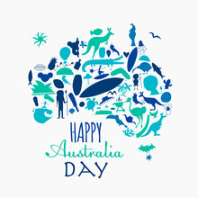 Happy Australian Day. Greeting Card Design