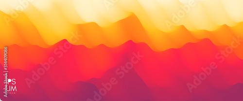 Fototapeta Desert dunes sunset landscape. Mountain landscape with a dawn. Mountainous terrain. Hills silhouette. Abstract background. Vector illustration. obraz