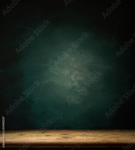 Obraz Wood table in front of rustic brick wall blur background with empty copy space on the table for product display mockup. Retro design montage presentation. - fototapety do salonu