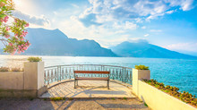 Bench On Lakefront In Como Lak...