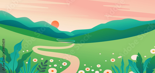 Fotografiet Vector illustration in flat simple style  with copy space for text - summer land