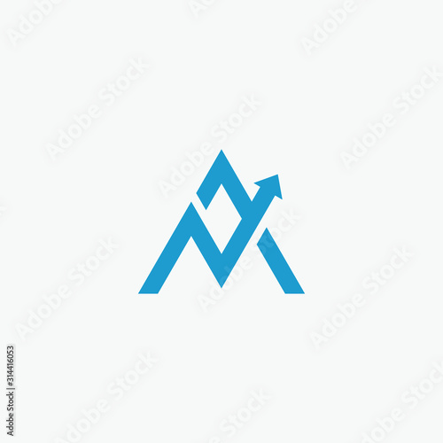 combines the letter A or A M with arrow element Canvas Print