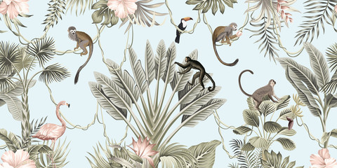 Panel Szklany Podświetlane Do pokoju dziewczyny Hawaiian vintage botanical palm tree,banana tree, palm leaves, hibiscus flower, liana, monkey animal summer paradise floral seamless border blue background.Exotic jungle wallpaper. G