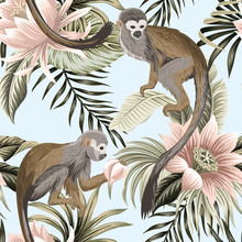 Tropical Vintage Monkey Animal, Lotus Flower, Peach Fruit, Palm Leaves Floral Seamless Pattern Blue Background. Exotic Jungle Wallpaper.