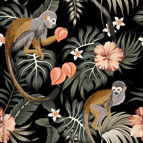 Tropical Vintage Monkey Animal Hibiscus Flower Peach Fruit Palm Leaves Floral Seamless Pattern Black Background Exotic Jungle Wallpaper Wall Mural Good Mood Flowers hd wallpapers in high quality hd and widescreen resolutions from page 1. tropical vintage monkey animal hibiscus flower peach fruit palm leaves floral seamless pattern black background exotic jungle wallpaper wall