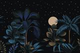 Tropikalna noc vintage palmy, drzewo bananowe, roślina, księżyc, gwiazdy niebo kwiatowy bezszwowe granica czarne tło. Tapeta egzotyczna ciemna dżungla. - 314417235