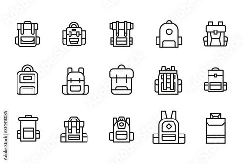 Fototapeta Stroke line icons set of backpack. obraz
