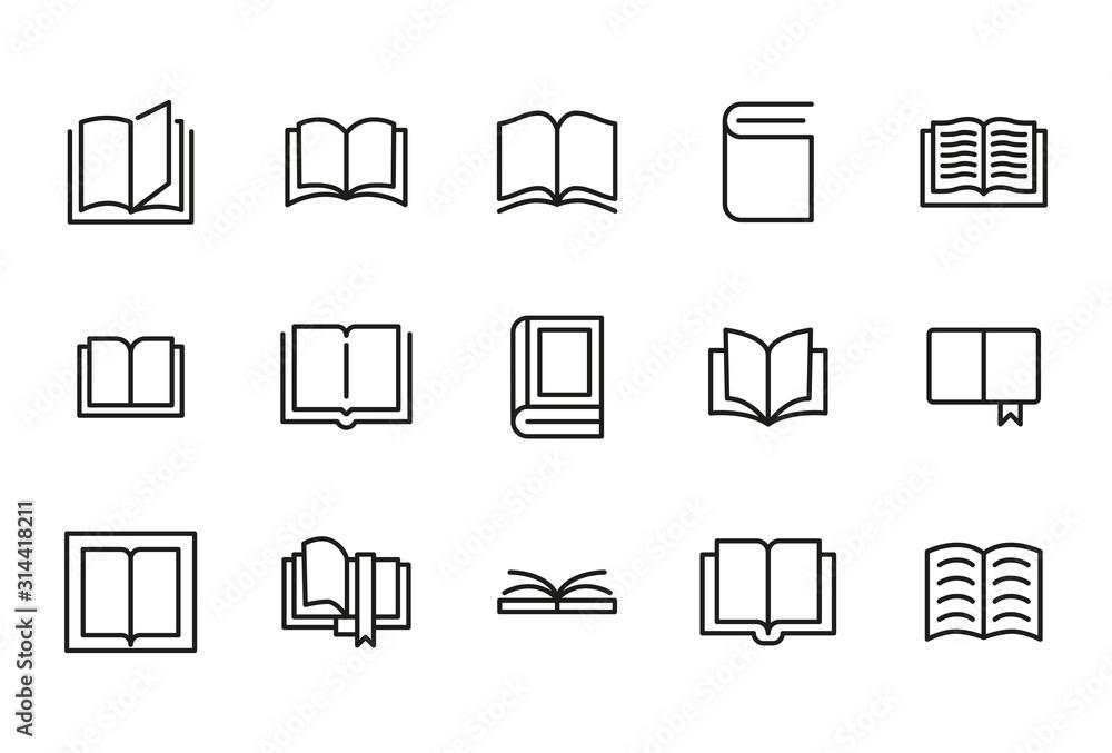 Fototapeta Stroke line icons set of book.