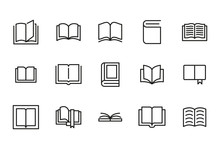 Stroke Line Icons Set Of Book.