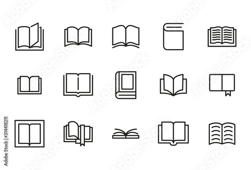 Obraz Stroke line icons set of book. - fototapety do salonu