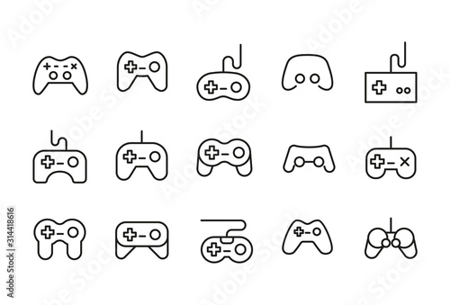 Icon set of gamepad. Poster Mural XXL
