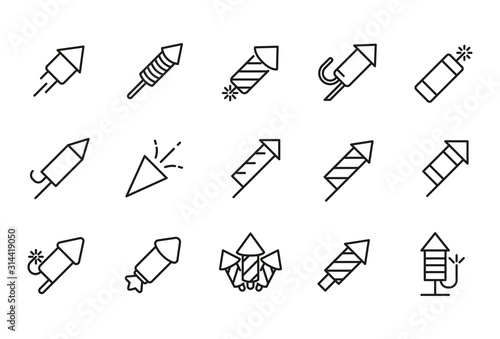 Fotografija  Stroke line icons set of petard.