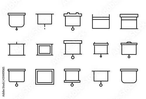 Photo Stroke line icons set of projection screen.