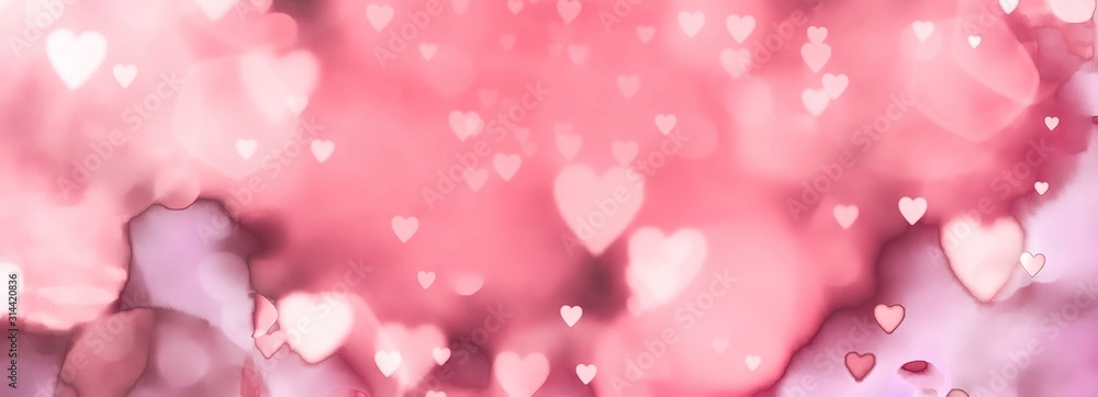 Fototapeta  abstract valentines day background with hearts