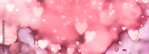 Obraz  abstract valentines day background with hearts - fototapety do salonu