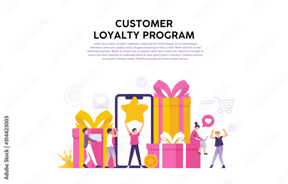 Fototapeta concept illustration of consumer loyalty program, reward for loyal consumers and loyal users of the web or application