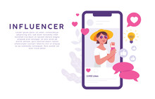 Concept Of Illustration Of Women As Social Media Influencers Who Are On The Rise And Become The Inspiration Of Their Followers. An Influencer Illustration Concept That Requires Likes, Love And Comment