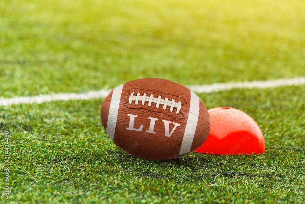 Fototapeta nfl ball an american football field, symbolizing the big game 54 in 2020