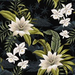 Panel Szklany Egzotyczne Tropical vintage night white orchid lotus flower, palm leaves floral, island landscape seamless pattern black background. Exotic jungle wallpaper.