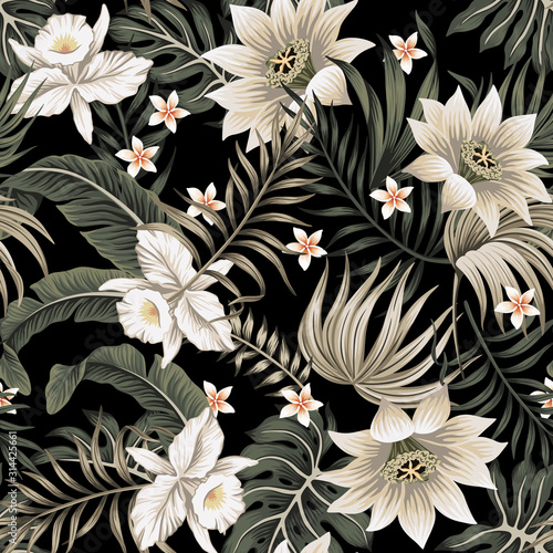 Tropical vintage night white orchid, lotus flower, palm leaves floral seamless pattern black background. Exotic jungle wallpaper. Wall mural