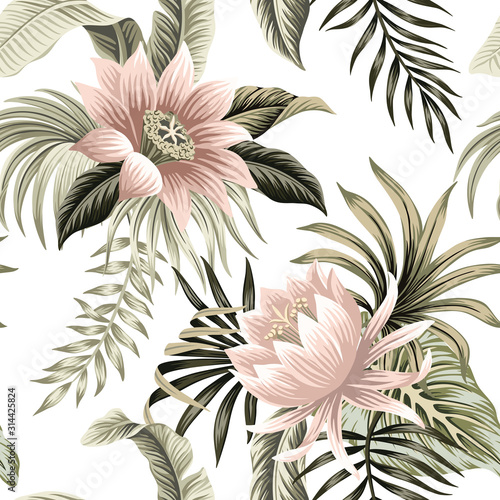 Tropical vintage pink lotus, palm leaves, banana leaves floral seamless pattern white background. Exotic jungle wallpaper. - fototapety na wymiar