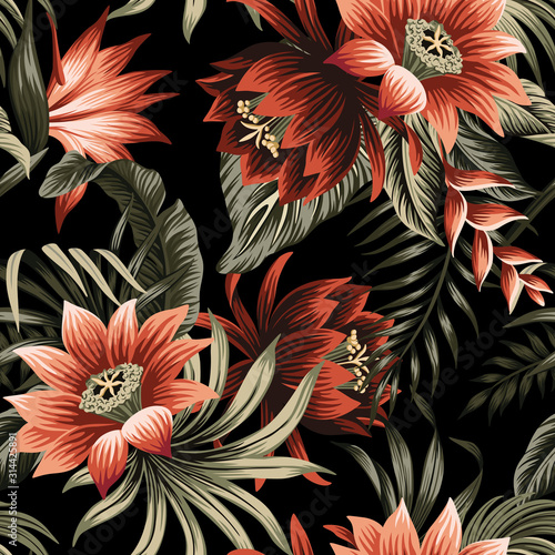Obraz Tropical vintage red lotus flower, palm leaves floral seamless pattern black background. Exotic jungle wallpaper. - fototapety do salonu