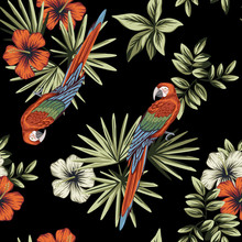 Tropical Vintage Red White Hibiscus Flower, Palm Leaves, Macaw Parrot Floral Seamless Pattern Black Background. Exotic Jungle Wallpaper.