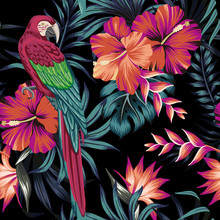 Tropical Vintage Macaw Parrot, Hibiscus Strelitzia Flower, Palm Leaves Floral Seamless Pattern Black Background. Exotic Jungle Wallpaper.