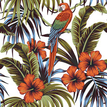 Tropical Vintage Palm Leaves, Banana Leaves, Hibiscus Flower, Macaw Parrot, Floral Seamless Pattern White Background. Exotic Jungle Wallpaper.