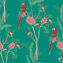 Vintage Garden Rose Tree, Plant, Macaw Parrot Floral Seamless Pattern Turquoise Background. Exotic Chinoiserie Wallpaper.
