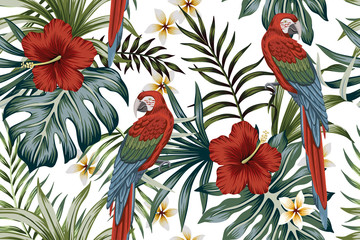 Tropical vintage macaw parrot, hibiscus flower, palm leaves floral seamless p...