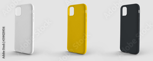 Fotografering Mockup plastic case for smartphone on an isolated background for design presentation